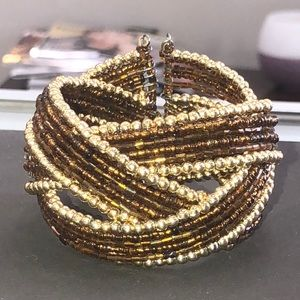 Jewelry - Gold and brown beaded bangle